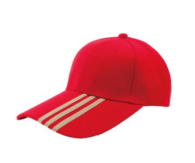 台灣製紅色六片長眉帽 - 帽體紅色,帽眉三條土黃飾線