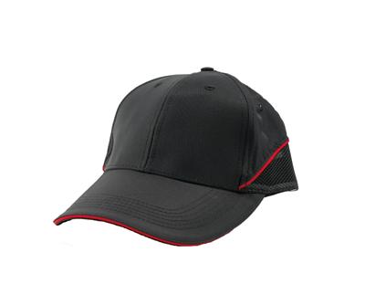 台灣製黑色六片雙帳布帽 - 帽體黑色,兩側紅飾線