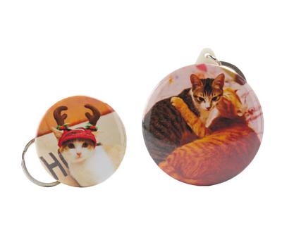 印上貓咪照片的客製化開瓶器胸章(附加鑰匙圈)(正面)