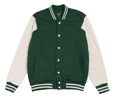 MIT501 - 墨綠配白色台灣製內裏刷毛棉質棒球外套(正)