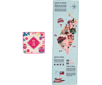 運動毛巾方形款和長條款展示 - 印有代表台灣特色的全彩插圖