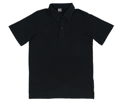 MIT 102 - 黑色水洗純棉中性短袖POLO衫(正)