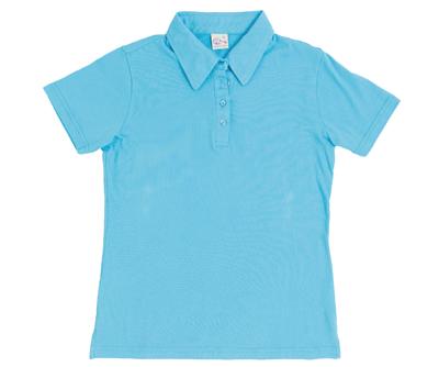 MIT 302 - 嫩藍色水洗純棉女性短袖POLO衫(正)