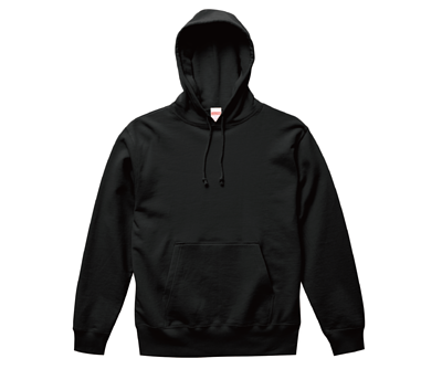 UnitedAthle 3521401 - 10oz 黑色純棉絨毛內裏前置口袋連帽T(正)