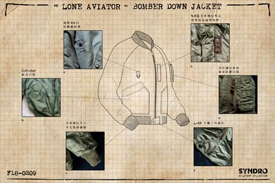 "SYNDRO 本季重點之作 ""LONE AVIATOR"" 是一件融合多款經典設計的羽絨飛行夾克。"