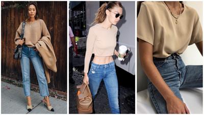 各式版型的奶茶色上衣搭配牛仔褲,輕鬆展現簡約時尚