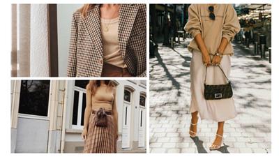 奶茶色衣服搭配不同材質與紋路單品,創造全新時尚風格