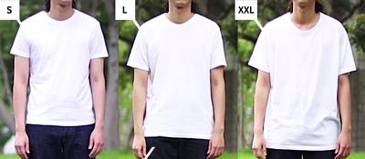 三種尺寸的素色T恤S、L、XXL,穿搭方式也截然不同