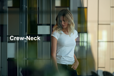 Crew-Neck女用圓領T領口使用隱藏縫針手法,讓整體更為極簡有型