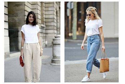 素T推薦穿搭:白色T恤與寬鬆牛仔褲