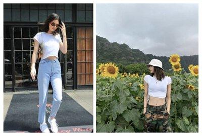 白色短版素T推薦搭配單品:高腰長褲