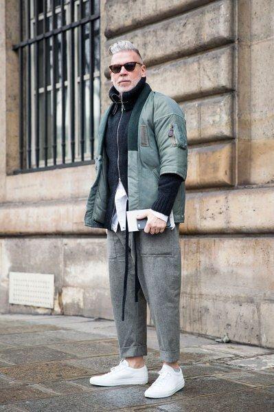 灰色棉褲穿搭-9