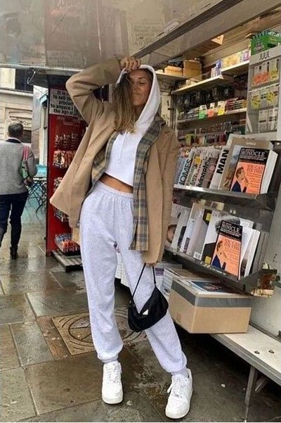 灰色棉褲穿搭-18