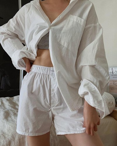 Boxer Brief 寬鬆舒適有機棉四角男用內褲-女model示範照