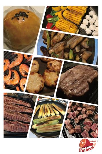 中秋烤肉派對,骰子牛肉,天婦羅,草蝦,牛小排,無骨牛小排,及其他蔬菜