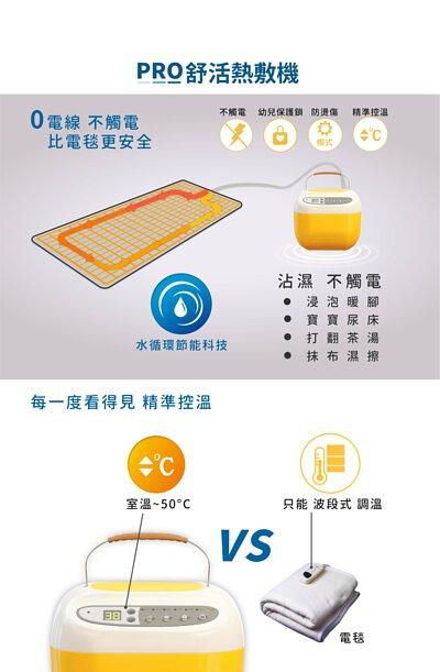 PRO舒活熱敷機,水循環節能科技-0電線不觸電,比電毯更安心。沾濕不觸電、幼兒保護鎖、智能模式防燙傷、每一度看的見精準控溫