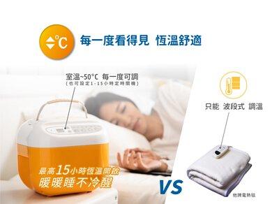 每一度看的見 恆溫舒適:室溫/31°C-50°C 最高15小時恆溫開啟,暖暖睡不冷醒。(電毯只能波段式調溫)