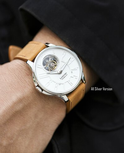 "<img src=""Lenvino3-all-color-collection.jpeg"" alt="" Lenvino3-white-dial-Sliver-case-brown-leather-strap "">"