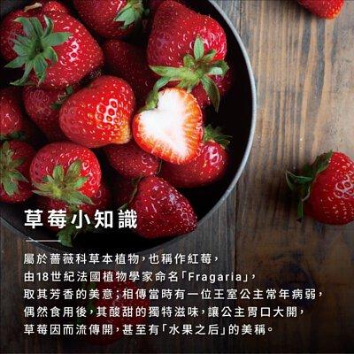 草莓小知識 屬於薔薇科草本植物,也稱作紅莓, 由18世紀法國植物學家命名「Fragariaj, 取其芳香的美意;相傳當時有一位王室公主常年病弱, 偶然食用後,其酸甜的獨特滋味,讓公主胃口大開, 草莓因而流傳開,甚至有「水果之后」的美稱。