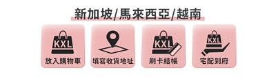 海外訂購-馬來西亞、新加坡、越南訂購流程,將商品加入購物車,選擇指定智能櫃,前往刷卡頁面刷卡結帳,等候出貨送達指定智能櫃點,親自前往取貨|KXL Taiwan