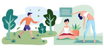 下班後的健康生活,快走、瑜珈動一動,增加肌力、促進血液循環。