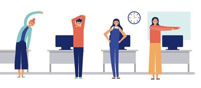 辦公室體操,別忘了長時間維持同樣的姿勢,容易造成肩頸、臀部、腿部、背部等部位痠痛狀況,適度的休息、動一動,可以讓身體更健康!