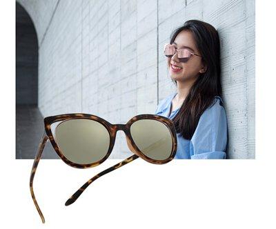 【INVU】瑞士前衛貓眼簍空水銀金偏光太陽眼鏡(琥珀) T2811B