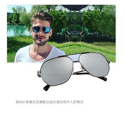 【INVU】瑞士金屬飛行員偏光太陽眼鏡聯名款(槍色) M1802A