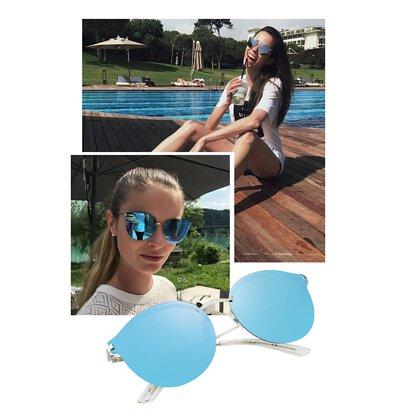 【INVU】瑞士個性金屬水銀藍平面偏光太陽眼鏡(銀) T1801C