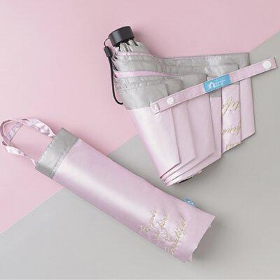 Rainbow House 晴雨傘 手寫的溫度 防風 防曬 輕量 加長中柄 刺繡 緞面 提袋式傘袋