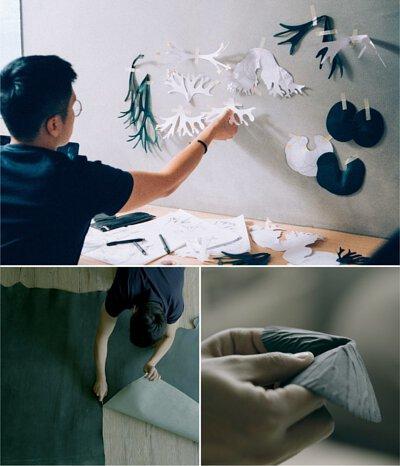 科學繪畫擷取植物外觀,皮革裁切製作畫面