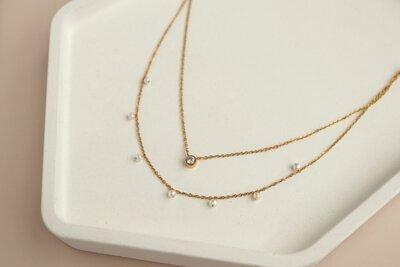 心靈伴侶 雙層單鑽項鍊|Miestilo Jewelry設計師輕珠寶品牌|舒飾質感每一刻