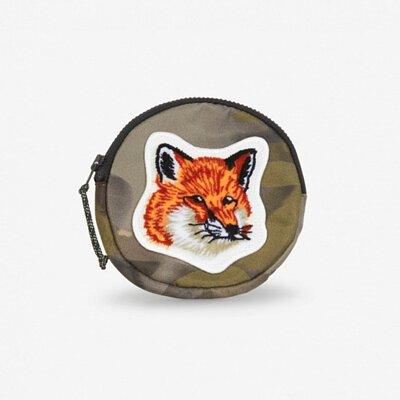 Maison Kitsuné絨毛狐狸迷彩紋圓形零錢包