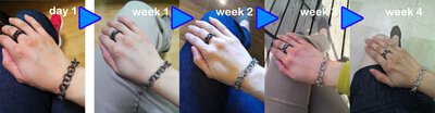 mittag小編穿戴銀飾泡溫泉後,銀飾持續穿戴4周後返回原貌,這是自體分泌的油脂所導致,因此常穿戴銀飾無需任何保養。