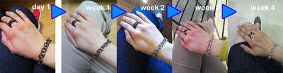 mittag銀飾小編穿戴銀飾泡溫泉後的終極測試,在僅以穿戴的方式經過4周時間,可以以自體分泌的油脂來還原銀飾達到完全還原狀態。