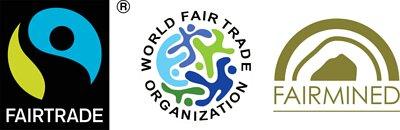 國際公平貿易標籤組織(FLO)、國際公平貿易組織(WFTO)、責任採礦聯盟(Alliance for Responsible Mining,簡稱ARM)(認證標章為Fairmined)