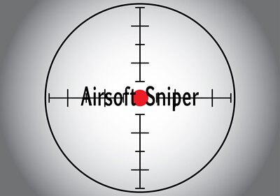Words Airsoft Sniper in the gray sniper target. Raster illustration.