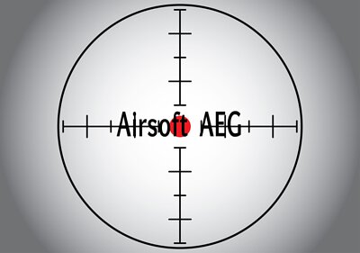 Words Airsoft AEG in the gray sniper target. Raster illustration.