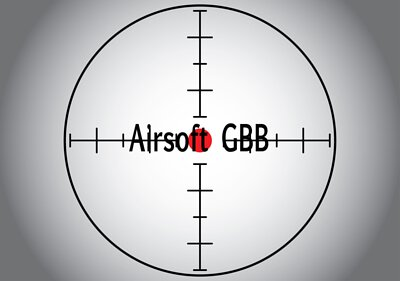 Words Airsoft GBB in the gray sniper target. Raster illustration.
