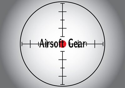 Words Airsoft Gear in the gray sniper target. Raster illustration.
