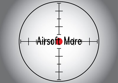 Words Airsoft More in the gray sniper target. Raster illustration.