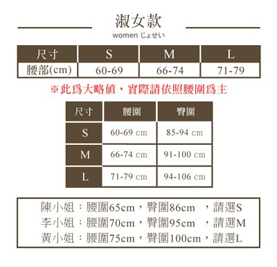 尺寸表參考