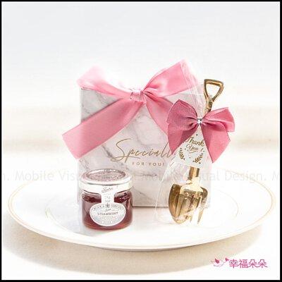 簡約精緻小禮袋-金色鏟子叉子湯匙組+英國果醬(粉色緞帶+白大理石紋袋)