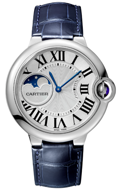 Cartier卡地亞手錶款式-BALLON BLEU 藍氣球系列精鋼月相皮帶.37mm