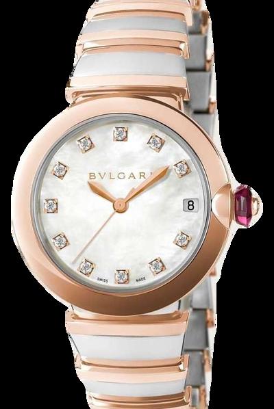 BVLGARI寶格麗-LVCEA系列  18K玫瑰金 . 精鋼 . 鑽石