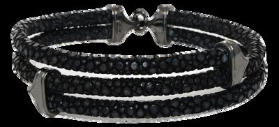 StingHD手鐲-A1  純銀鍍黑鉑金 x 黑珍珠魚皮