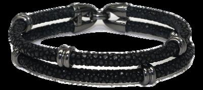 StingHD手鐲-A3  純銀鍍黑鉑金 x 雙環黑珍珠魚皮