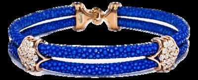 StingHD手鐲-A2  18K玫瑰金 x 28顆白色鑽石 x 寶藍珍珠魚皮