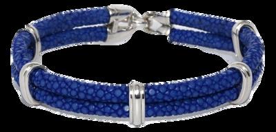 StingHD手鐲-B4  純銀 x 藍珍珠魚皮