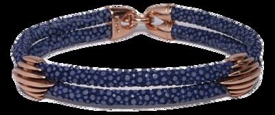 StingHD手鐲-C1  玫瑰金 x 靛藍珍珠魚皮